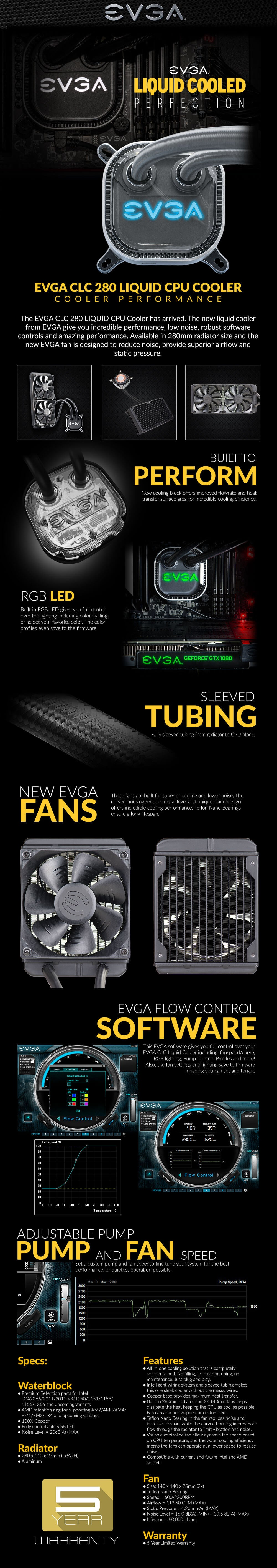 EVGA CLC 280 Liquid / Water CPU Cooler, RGB LED Cooling 400-HY-CL28-V1_VLCanada