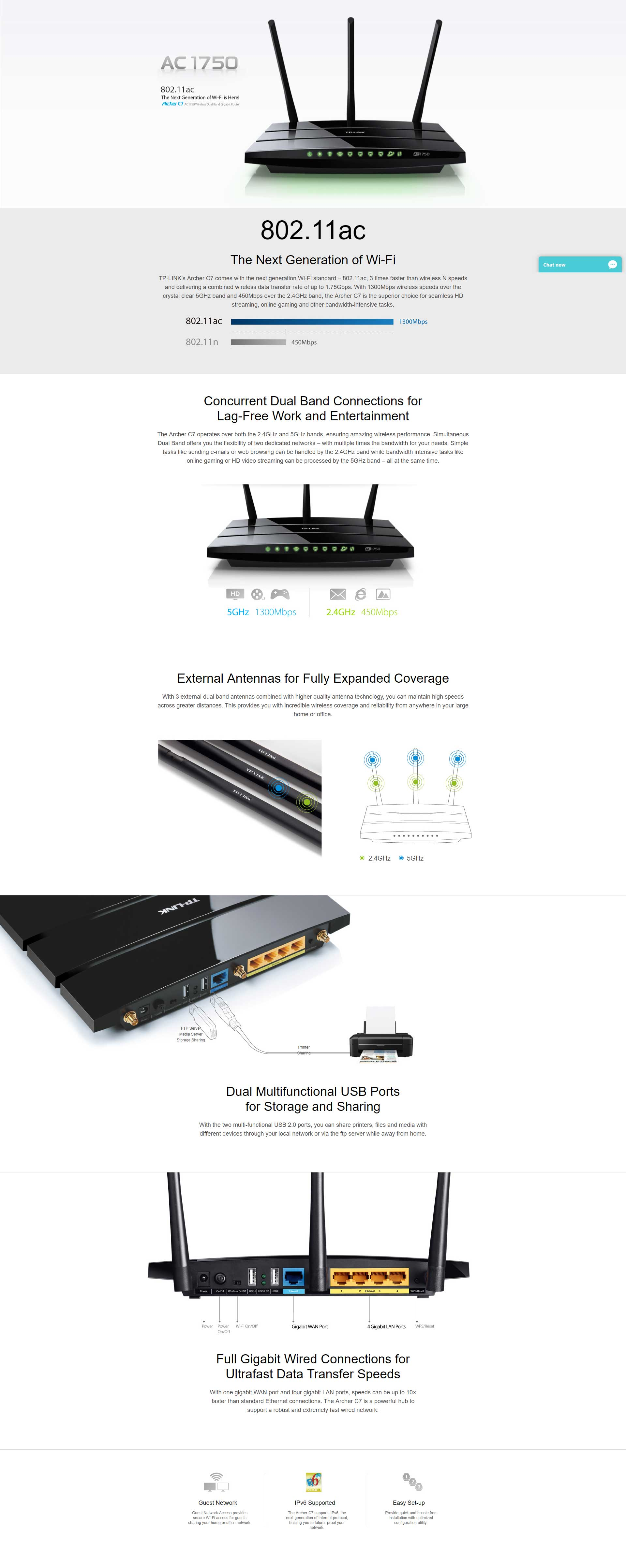 TP-Link Network ARCHER C7 Wireless Dual Band Gigabit Router 2 4GHz 5GHz USB  Retail