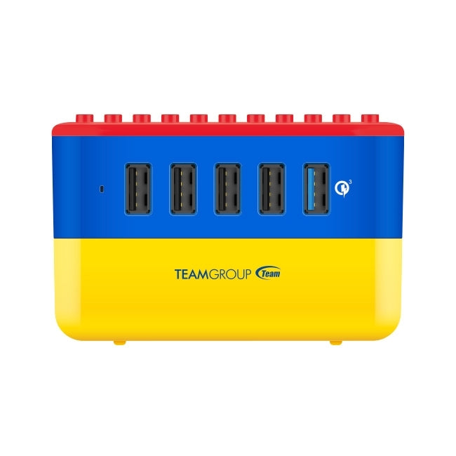 TEAMGROUP Quick charge 3.0 55W 5-port USB brick charger (WD02) compatible with LEGO/storage box for iPhone, Android devices