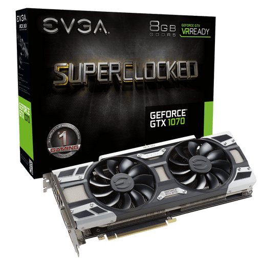 EVGA GeForce GTX 1070 SC GAMING, 08G-P4-6173-KR, 8GB GDDR5, ACX 3.0 & LED - V&L Canada