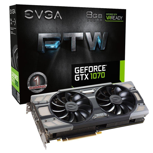 eVGA Video Card 08G-P4-6276-KR GTX 1070 FTW DT Gaming ACX3.0 8GB DDR5 256Bit PCI Express DVI-D/HDMI Retail
