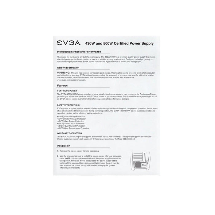 EVGA Power Supply 100-W1-0500-KR 500W 80PLUS +12V 120mm Ultra-Quiet Fan Active PFC Retail