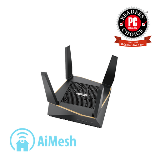 ASUS (RT-AX92U) AX6100 WiFi Tri-band Mesh System, AiProtection Pro Network Security by Trend Micro, AiMesh compatible for Mesh WiFI System, Adaptive QoS, Parental Control
