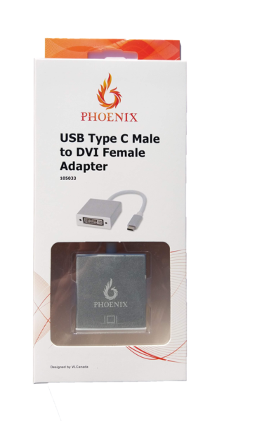 Phoenix Cable Type C to DVI female 1080P 60HZ 0.2M Aluminum Shell