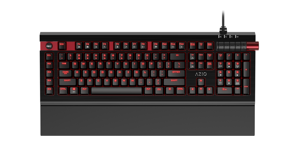 AZIO MGK-ARMATO-01 Mechanical Gaming Keyboard, Cherry MX Brown, Red Backlight LED, Full NKRO - V&L Canada