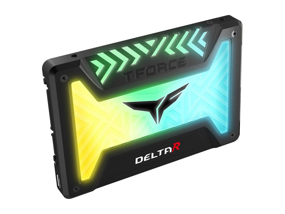 "Team Group T-FORCE DELTA R RGB SSD (Rainbow) 2.5"" 500GB SATA III Internal RGB Solid State Drive (For MB with USB 9-Pin Header) - Black"