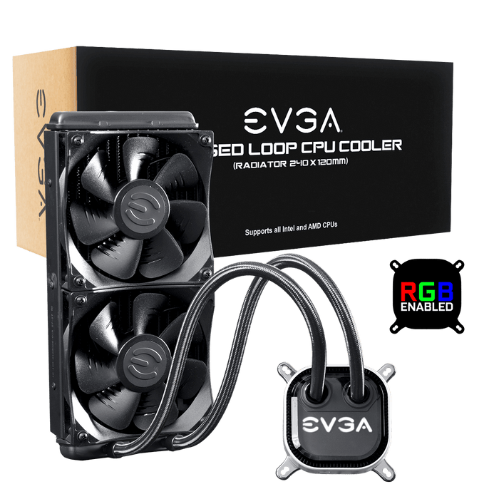 EVGA CLC 240 Liquid / Water CPU Cooler, RGB LED Cooling 400-HY-CL24-V1 - V&L Canada