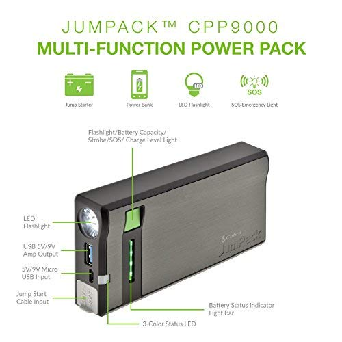 Cobra JumPack CPP9000 3-in-1 Portable Power Car Jump Starter: Battery Charger, Power Pack & LED Flash Light with Jumper Cables, 400 Amp Peak, 7500mAh for Instant Power to Car, SUV, Motorcycle or Boat