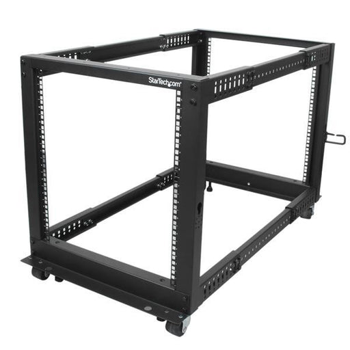 StarTech.com 12U Adjustable Depth Open Frame 4 Post Server Rack w/ Casters / Levelers and Cable Management Hooks 4POSTRACK12U - V&L Canada