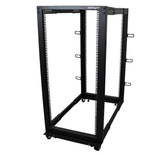 StarTech.com 25U Adjustable Depth Open Frame 4 Post Server Rack w/ Casters / Levelers and Cable Management Hooks 4POSTRACK25U - V&L Canada