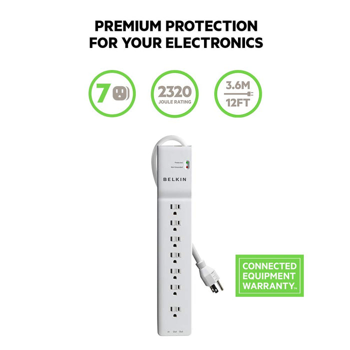 Belkin 7-Outlet Home and Office Power Strip Surge Protector with 12-Foot Power Cord, 2320 Joues (BE107200-12)