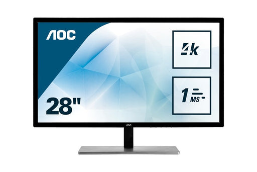 AOC U2879VF Featured 28'' 4K UHD 2160p LED-Backlit LCD Monitor, Black/Silver - V&L Canada