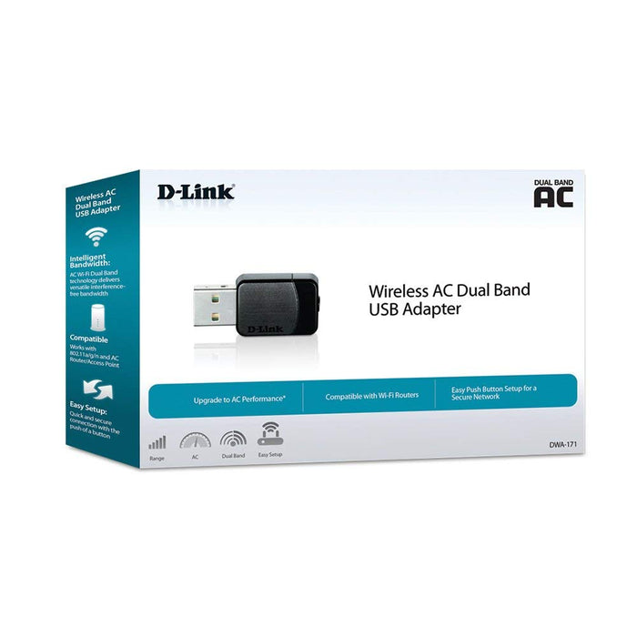 D-LINK Wireless AC600 Dual Band Nano USB Adapter (DWA-171)