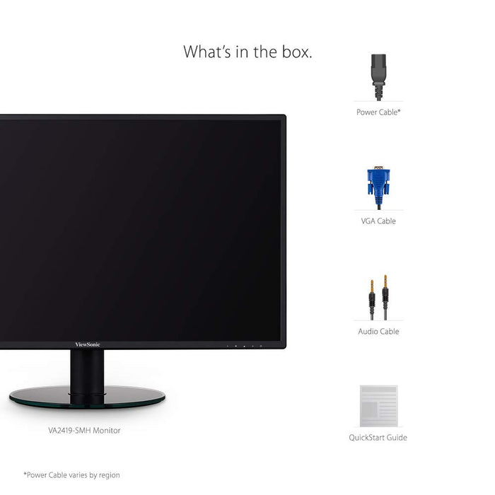 ViewSonic VA2419-SMH 24 Inch IPS 1080p Frameless LED Monitor with HDMI and VGA Inputs for Home and Office