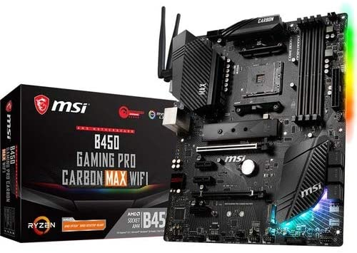 MSI Performance Gaming AMD Ryzen 1st, 2nd, and 3rd Gen AM4 M.2 USB 3.2 Gen 2 DDR4 HDMI Display Port Wi-Fi ATX Motherboard (B450 Gaming PRO Carbon MAX WiFi) (B450GPCMAXWIFI)