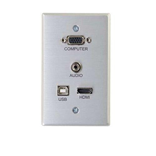 C2G 60171 Rapidrun VGA Plus 3.5mm Plus HDMI & USB Pass Through Single Gang Wall Plate - V&L Canada
