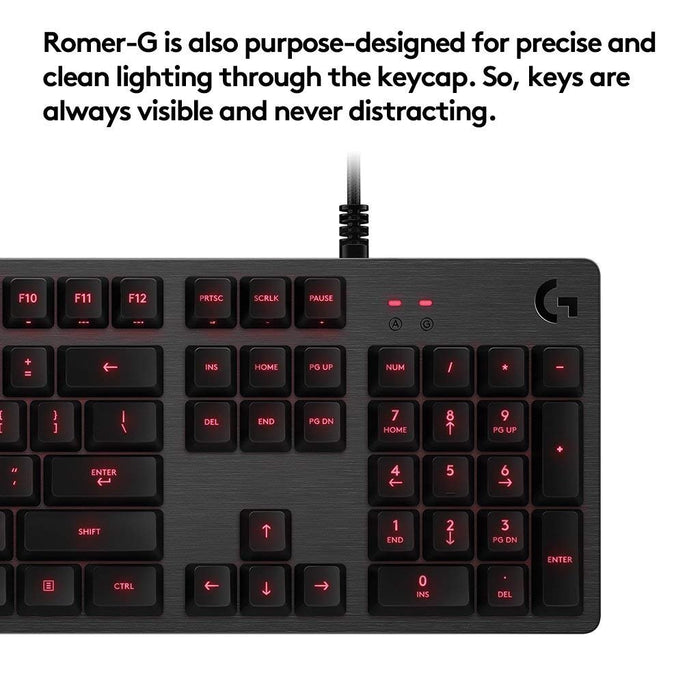 Logitech G413 Backlit Mechanical Gaming Keyboard with USB Passthrough, Carbon (920-008300)