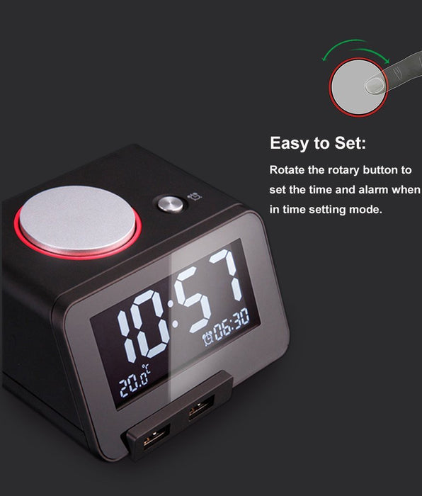 Multi-function Alarm Clock, Indoor Thermometer, Charging Station/Phone Charger with Dual Port USB for iphone/ipad/ipod/Android phone&tablets