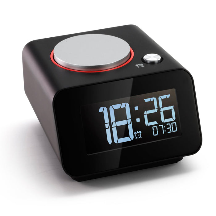 Homtime Bedside Alarm Clocks with Dual USB Charging Port for Bedroom Small Alarm Clock Snooze Dimmable (with AC Adapter)