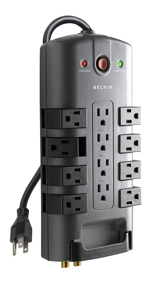 Belkin 12-Outlet Pivot-Plug Power Strip Surge Protector w/ 8ft Cord – Ideal for Computers, Home Theatre, Appliances, Office Equipment and More (4,320 Joules) (BP112230-08)