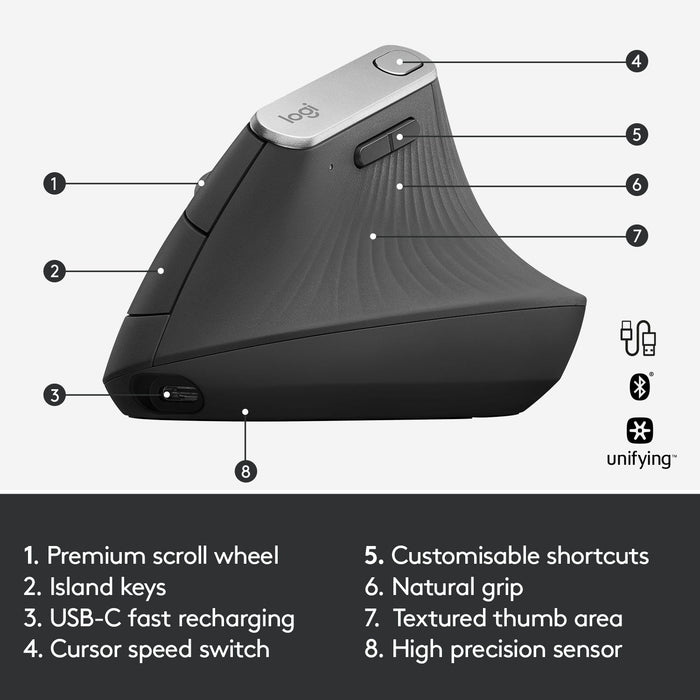 Logitech MX Vertical Wireless Mouse – Rechargeable, Graphite (910-005447)