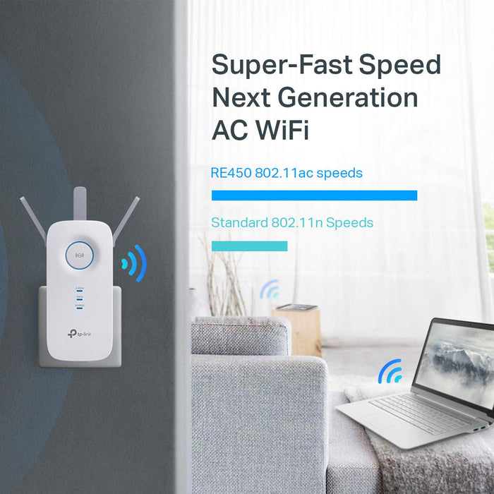 AC1750 Dual Band Wireless Wall Plugged Range Extender, Qualcomm, 1300Mbps at 5GH (RE450)