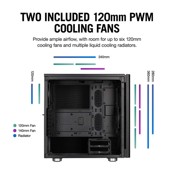 Corsair Carbide Series 275Q Mid-Tower Quiet Gaming Case Black Cases CC-9011164-WW