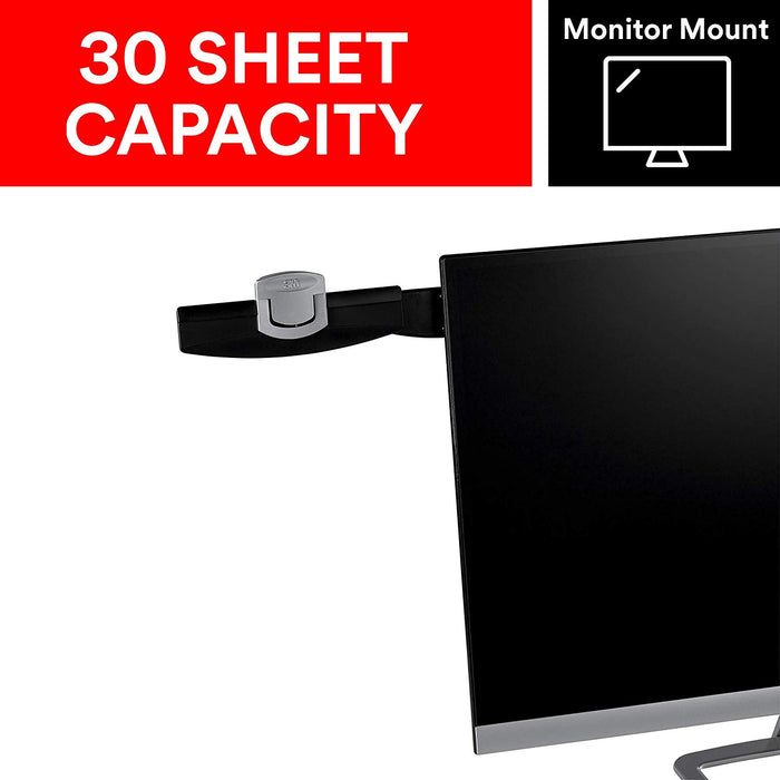 3M Monitor Mount Document Clip, Mounts Right or Left with Command™ Adhesive, Swings Forward and Back for Easy Viewing and Storage, 30 Sheet Capacity, Black (DH240MB)