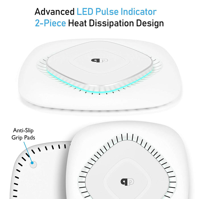 ChargeWAVE Base Qi-Certified Universal 7.5W/10W Fast Wireless Charging Pad with (PPCWB01/WHT(QC))
