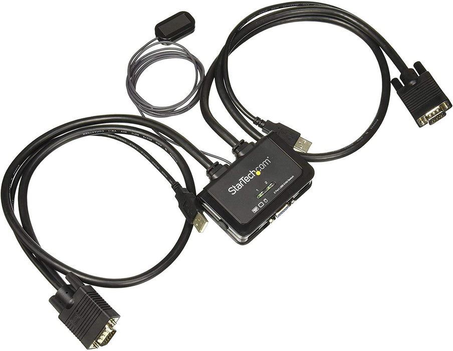 StarTech.com 2 Port USB VGA Cable KVM Switch, USB Powered with Remote Switch, Dual Port VGA KVM Switch(SV211USB)