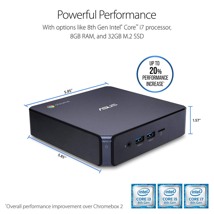 ASUS CHROMEBOX 3-N017U Mini PC with Intel Celeron, 4K UHD Graphics and Power Over Type C Port, Star Gray (CHROMEBOX3-N017U)