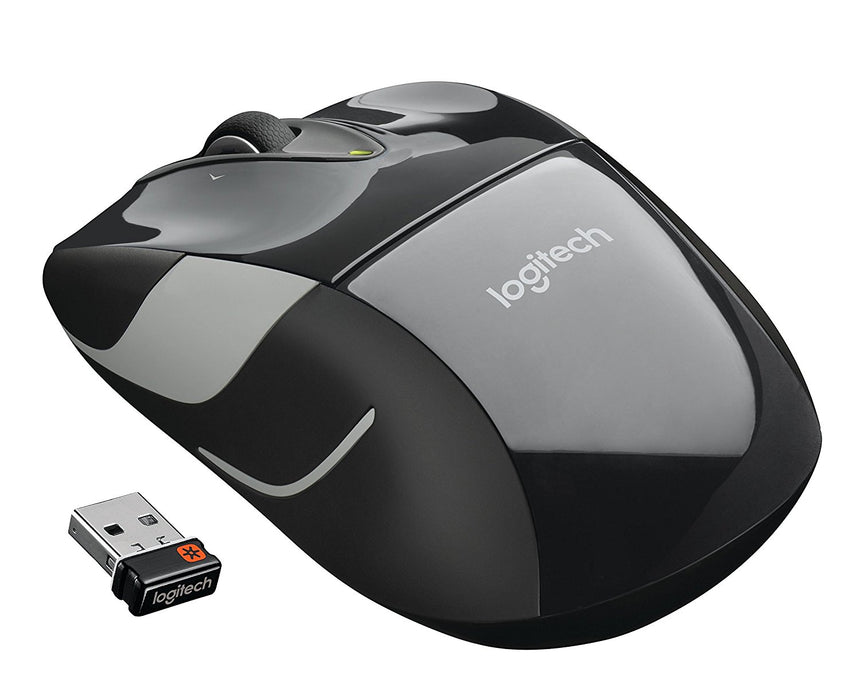 Logitech M525 Wireless Mouse – Long  Battery Life, Ergonomic Shape for Right or Left Hand Use, Micro-Precision Scroll Wheel, and USB Unifying Receiver for Computers and Laptops, Black/Gray (910-002696)