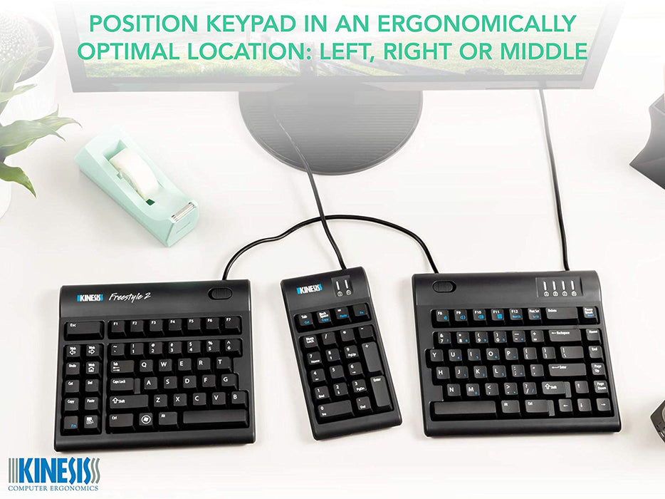 Kinesis Freestyle2 Keypad for PC, Black, USB with 2 port hub (AC800HPB-US)