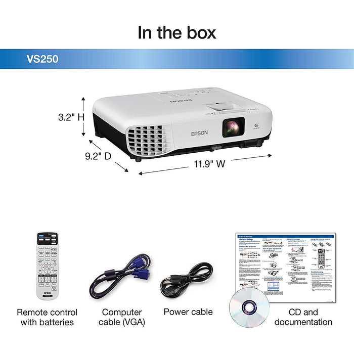 Epson VS250 SVGA 3,200 Lumens Color Brightness HDMI 3-Chip LCD Projector(V11H838220)