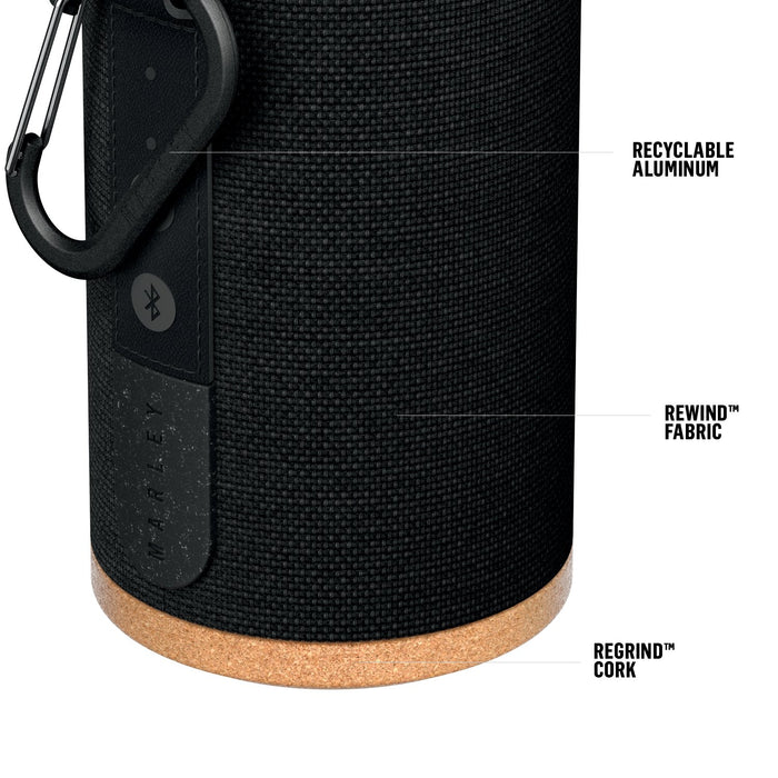 House of Marley, No Bounds Sport, Outdoor Speaker | 12-Hour Battery Life, Water & Dust-Proof (IP67) | Buoyant, Quick Charge, Wireless Dual Speaker Pairing, Aux-in, Carabiner Clip for Travel | Black (EM-JA016-SB)