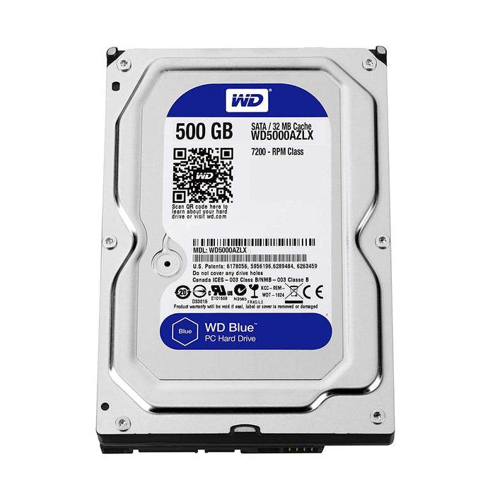 "Western Digital Blue 500GB Desktop Hard Disk Drive - 7200 RPM Class SATA 6Gb/s 32MB Cache 3.5"" - WD5000AZLX"