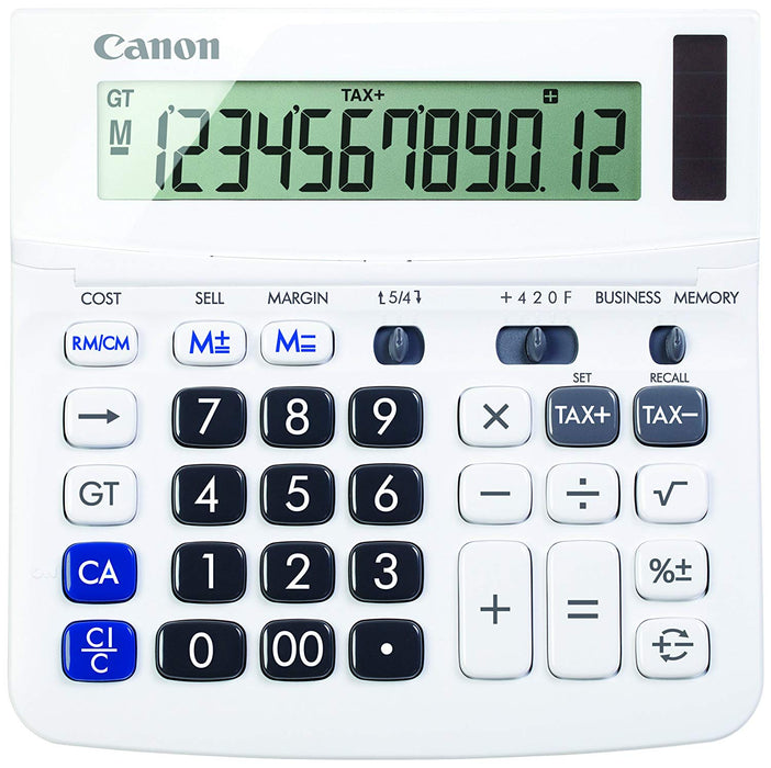 Canon WS-220TSG Desktop 12 digit Calculator with Tax and Cost/Sell/Margin Calculations, White - 9607B001