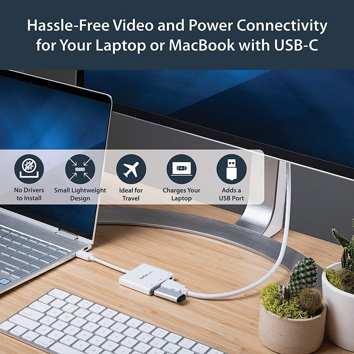 StarTech.com USB-C to HDMI Adapter - White - 4K 30Hz - Thunderbolt 3 Compatible - with Power Delivery (USB PD) - USB C Dongle (CDP2HDUACPW)