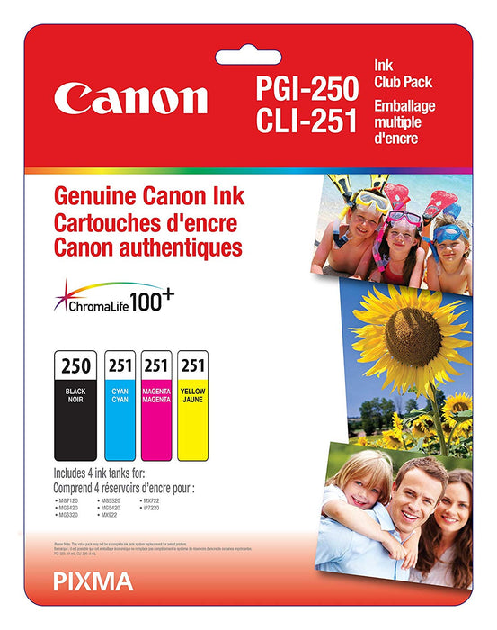 Canon Genuine Pgi-250 Bk/Cli-251 Cmy Ink Club Pack - 6497B009
