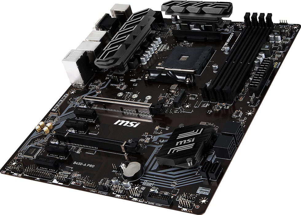MSI ProSeries AMD Ryzen 1st and 2nd Gen AM4 M.2 USB 3 DDR4 D-SUB DVI HDMI Crossfire ATX Motherboard (B450-A PRO) (B450APRO)
