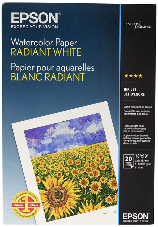 20sht 13x19 Watercolor Radiant White Paper (S041351)