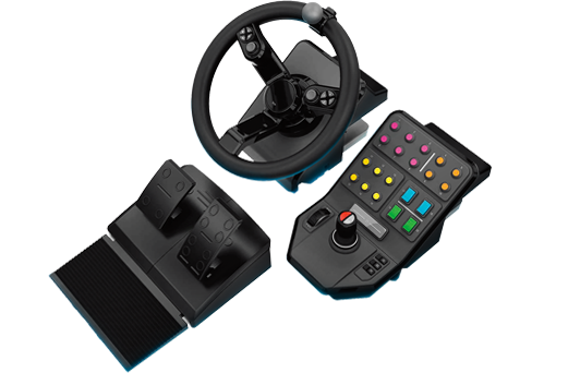 PC Farm Sim Controller Logitech 945-000026 Steering wheel  Pedals and Side Panel PC Black gaming controller - V&L Canada