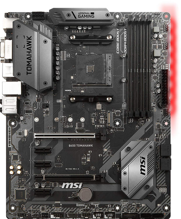 MSI Arsenal Gaming AMD Ryzen 1st and 2nd Gen AM4 M.2 USB 3 DDR4 DVI HDMI Crossfire ATX Motherboard (B450 Tomahawk) (B450TOMAHAWK)