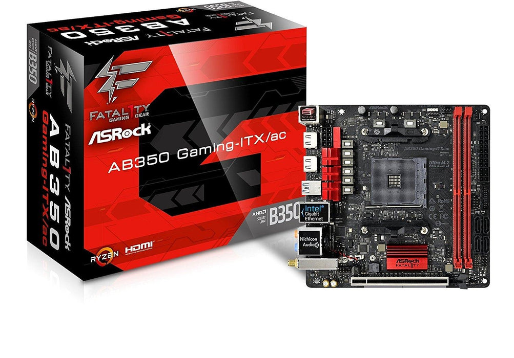ASRock Motherboard AB350 Gaming-ITX/ac AMD AM4 B350 Max.32GB DDR4 PCIE SATA Mini-ITX Retail - V&L Canada