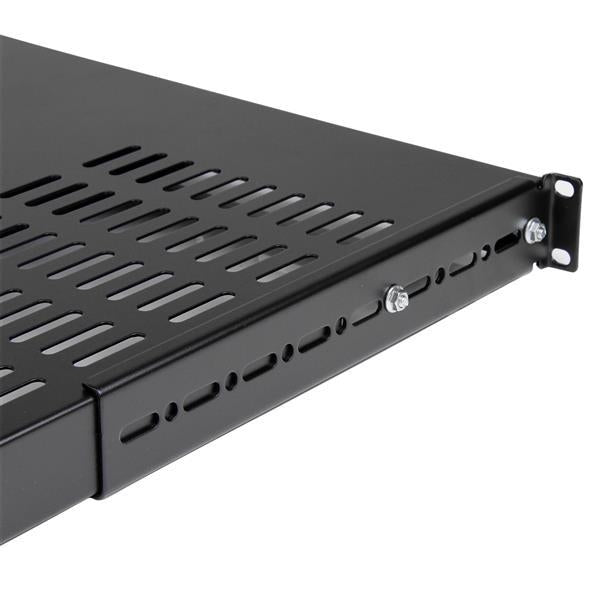 StarTech.com 1U Adjustable Mounting Depth Vented Rack Mount Shelf - Heavy Duty Fixed Rack Shelf - 250lbs / 113kg (ADJSHELFHDV) - V&L Canada