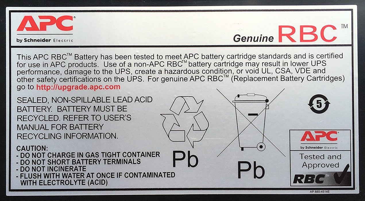 APC APCRBC123 Sealed Lead Acid (VRLA) - V&L Canada