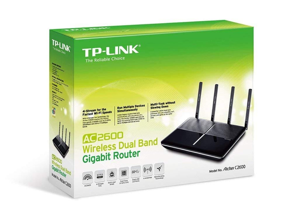 TP-Link AC2600 Dual Band Wireless AC Gigabit Router, 2 4GHz 800Mbps + 5GHz  1733Mbps, Beamforming, 2 USB 3 0 Ports, IPv6, Dual Core CPU, MIMO (Archer