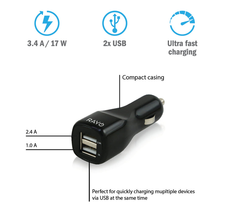 RAYO Dual USB Ports Fast Charging Car Charger