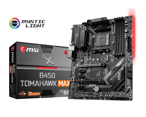 MSI MB B450TOMAMAX AMD AM4 B450 64GB DDR4 DVI HDMI ATX Retail