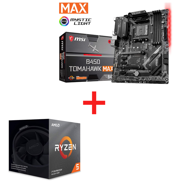 *Bundle Deal* AMD Ryzen 5 3600X 6-Core, 12-Thread Unlocked Desktop Processor with Wraith Spire Cooler + MSI Arsenal Gaming AMD Ryzen 2ND and 3rd Gen AM4 M.2 USB 3 DDR4 DVI HDMI Crossfire ATX Motherboard (B450 Tomahawk Max)